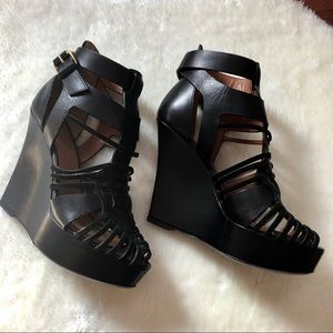 GIVENCHY 'Corinne' black strap wedges